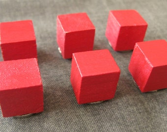 Painted Wooden Cube Magnets (set of 6)
