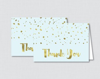 Printable Blue and Gold Thank You Card - Printable Instant Download - Blue and Gold Baby Shower Thank You Card, Faux Gold Foil - 0022-B