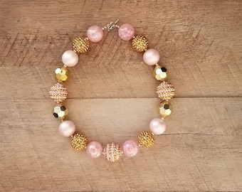 Pink and Gold Chunky Necklace, Bubblegum Bead Necklace, Chunky Beads, Baby Bubblegum Necklace, Gold Bubblegum Necklace, Gold Chunky Necklace