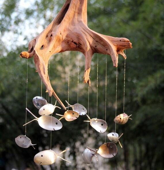 Driftwood Stump / Spoon Fish Windchime Extra Large Wind