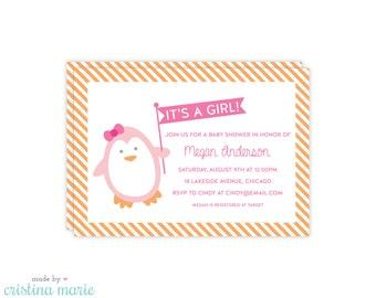 penguin baby shower invitation, printable, personalized invitations