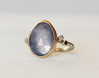 Tanzanite and Sapphire Cocktail Ring - Sterling Silver and 14k Gold Ring - Size 7