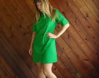 Bright Lime Green Mod Mini Dress - Vintage 60s - SMALL