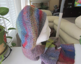 Wool Felted Beret And Extra Long Scarf Set