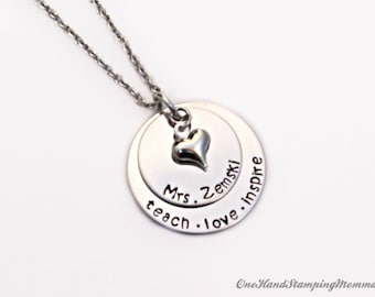 Hand Stamped Jewelry - Personalized Necklace - Personalized Teacher Necklace - Hand Stamped Necklace - Personalized Gift