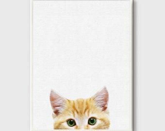Cat Art, Cat Print, Peeking Cat Wall art, Cat Photography, Animal Prints, Nursery Decor Grey, Print Minimalist, Cat Poster, Modern art