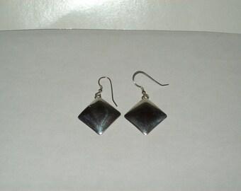 Sterling Silver Square Hook Earrings