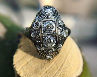 Old Mine cut Diamond Filagree ring