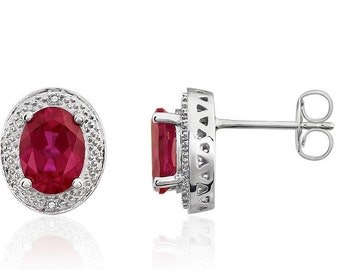 14K White Gold Genuine Red Ruby & Diamond Accent Stud Earrings - 8 x 6mm Oval Shape - July Birthstone - Gift for Her