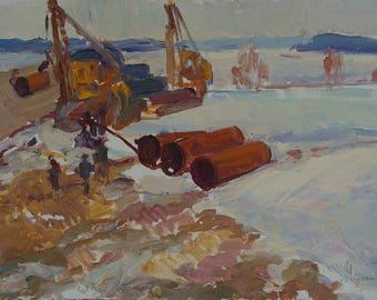 Soviet builders,Workers,Socialist Realism,collective farm,kolkhoz,original painting,Usikova E. 50-35 km. 70e 0.15