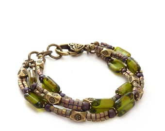 Olive Green Bohemian Multistrand Bracelet - Czech Glass Rectangle Beads - Forest Green Metallic Seed Bead Stacking Bracelet - Greenery