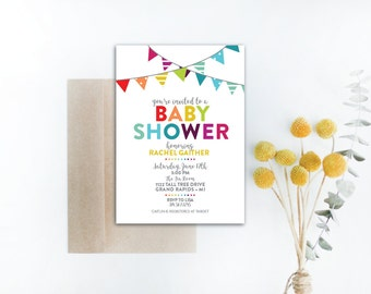 INSTANT DOWNLOAD baby shower invitation / rainbow baby shower invite / rainbow invitation / colorful baby shower / gender neutral shower