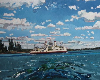 Toward Kingston Harbor, Larger Original Landscape Painting on Paper, Stooshinoff