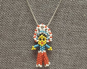 Vintage NATIVE AMERICAN Beaded Indian Chief Necklace Southwestern