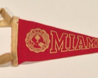 Vintage University of Miami Flocked Felt Style Mini Pennant - Antique College Memorabilia