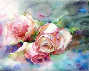 Garden roses. Original watercolor painting.