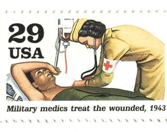 5 Nurse Postage Stamps // Vintage Nursing Stamps // WWII Red Cross Military Medic // 29 Cent Nurse Stamps for Mailing