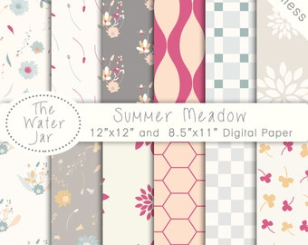 Summer Digital Paper Commercial Use, Digital Paper Floral, SEAMLESS Florals, The Water Jar, Flowers, Planner Sticker Resources