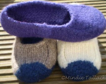 GERMAN version of  Duffers slippers - the 19 row Felted slipper pattern