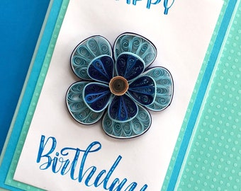 Birthday Card, Quilling, Paper Flowers, Greeting cards, Quilling Art, Handmade cards, Flowers,