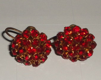 Red Rhinestone Cluster Earrings Screw Backs ***