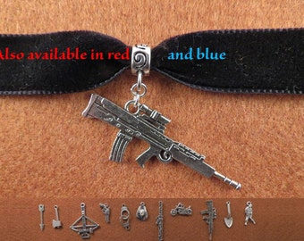 Zombie Apocalypse simple velvet choker with charm of your choice