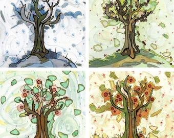 Tree of Life - Four Seasons of Trees - Set of four 12x12 fine art prints apple trees