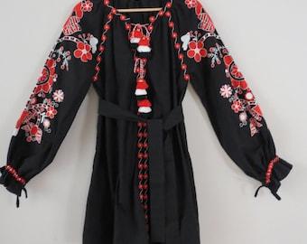 Black Red Embroidered Ukrainian Vyshyvanka Style dress. Balloon Sleeve Tassels 100% Cotton