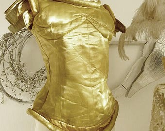 Beautiful vintage theater costume, jerkin, corset, handmade from golden silk....CHARMANT!