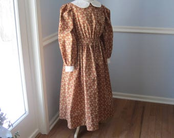 Ready to Ship Size 10 Little House on the Prairie/Girls Pioneer Dress  - Light Brown Calico Laura Ingalls Dress -ELIZA