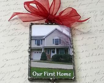 Foto-Ornament, neues Haus, House Warming Geschenk, gelötet, Glasperlen, personalisierte, maßgeschneiderte, Christbaumschmuck, Urlaub, Hochzeitsandenken