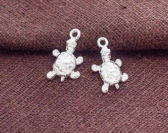 2 of 925 Sterling Silver Turtle Charms 8x10 mm. :th2588