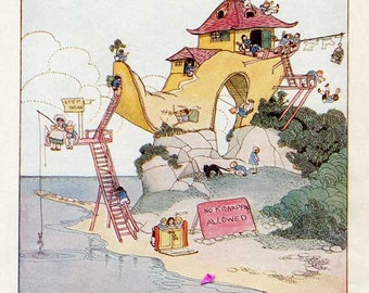Vintage 1930's  Child's Nursery Rhyme Illustration, Print by P Vinton Brown, There Was an Old Woman Lived in a Shoe