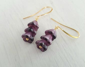 Pretty little purple flowers, vintage glass beads, wire wrapped, gold plated  earrings.