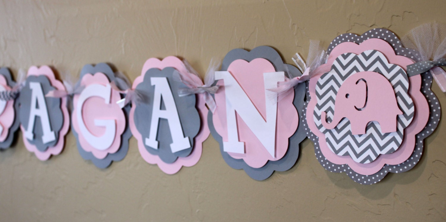 1faad6629928 Elephant Light Baby Pink Gray Chevron Stripe Polka Dot NAME or