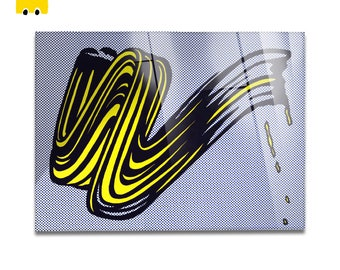 Plexiglass square Prints on acrylic glass-Roy Lichtenstein-BRUSHSTROKE-Yellow BUS