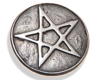 Handmade, recycled Sterling silver Pentagram button