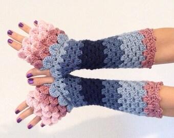 READY TO SHIP - Dragon Scale Fingerless Gloves - pink, blue, wrist hand arm warmers women crochet game of thrones khaleesi