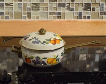 Vintage Mid Century 2 Quart Porcelain Enamel Sauce or Sauté Pan With Lid & Brass Handles and Knob