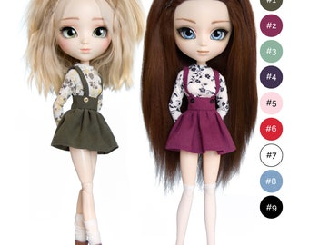 Floral blouse and skirt with braces for Pullip, Azone Pure Neemo, Blythe, Dal, Obitsu 27 soft, Obitsu 23, Momoko dolls