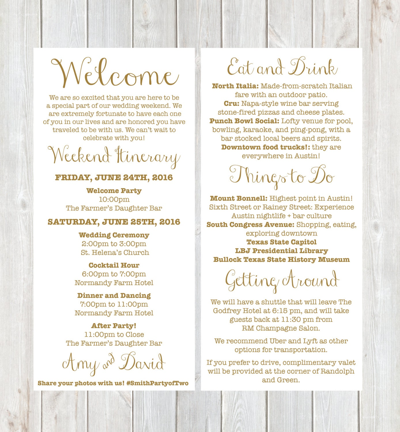 Welcome letter weekend itinerary wedding itinerary gold zoom altavistaventures Choice Image