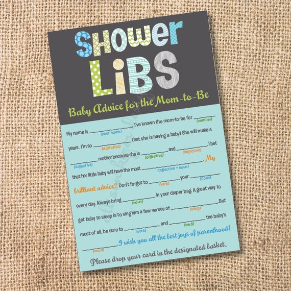 Letter From Baby To Baby Shower Guests: Funky Letters Boy Printable Baby Shower Mad Libs Advice