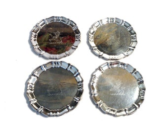 Vintage Canterbury Silver Plate Coasters with Lion Motif