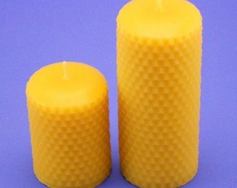 Honeycomb Candles, 2.2 x 3 and 2.2 x 5 Beeswax Pillar Candles, Pure Canadian Beeswax Candles Handcrafted From Beeswax Cappings