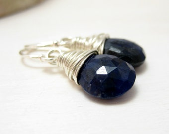 Genuine Sapphire Earrings, Sterling Silver Blue Sapphire Earrings September Birthstone Drop Dangle Earrings Wire Wrapped