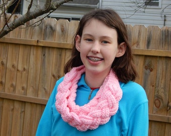 Pink Braided Scarf; Crocheted Cowl; Gift for Her; Valentines Day Gift; Gift for Girlfriend; Gift for Wife; Handmade  Gift; Ready to Ship