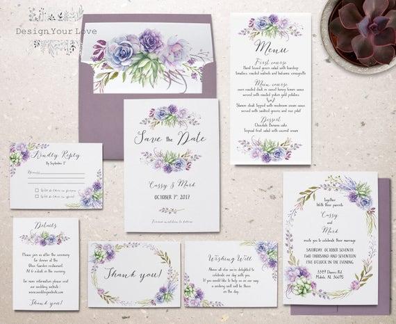 Completely new succulents wedding invitation set printable wedding invitation VC16
