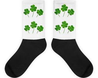 St. Patrick's Day Socks - Shamrock Socks - Clover Green Socks - Fun St. Patrick's Day Clover Socks - Green Fun Socks - Clover St .Patrick