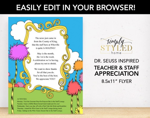 Editable Dr Seuss Inspired Flyer Teacher And Staff