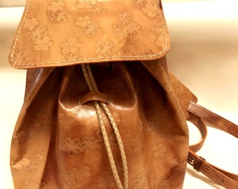 Leather Small Backpack/Tote Bag (Orange)